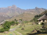 The outer peaks of the Amphitheatre, seen from Upper chalets at Thendele, Royal Natal National Park. Reedbuck and Guinea Fowl greet you in the early morning sunshine, as you breakfast beneath the magnificent peaks