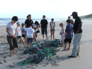 THE NETS WERE TUGGED OUT BY THE UNIMOG AFTER A LOT OF DIGGING BY KIDS AND PARENTS